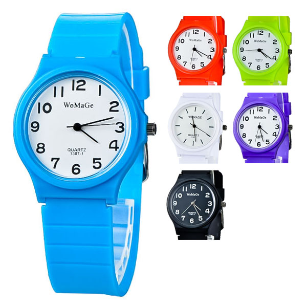 Womage light simple plastic boys girls watch for kids zibidar for Watches for kids